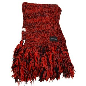 Calvin Klein Chunky Knit Red & Black Scarf